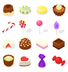 Candy icon set isometric style vector