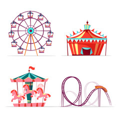 Cartoon amusement park attractions set vector
