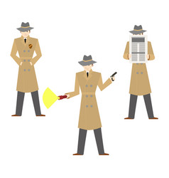 cartoon characters private detective set vector image