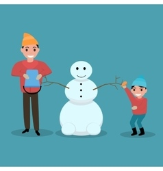 cartoon father son together build snowman vector image
