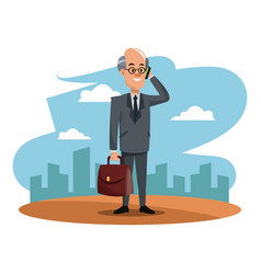 Character man business manager with smartphone and vector