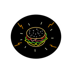 cheeseburger retro neon sign oval vector image