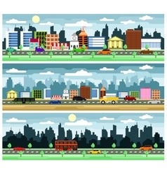 City street with buildings vector image