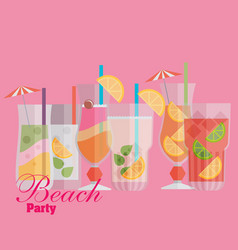 cocktail drink fruit juice in flat design style vector image