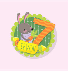 colorful emblem with little bunny and number 7 vector image