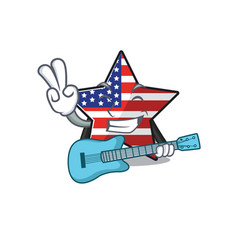 Confident happy usa star character with guitar vector