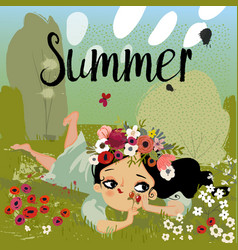 Cute cartoon summer girl vector