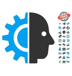 Cyborg Head Icon With Free Bonus vector image