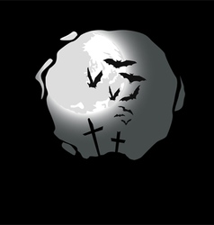 Destroyed Cemetery Full Moon vector image