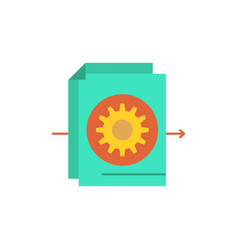 document file gear settings flat color icon icon vector image