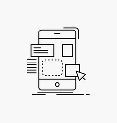 Drag mobile design ui ux line icon isolated vector