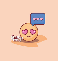 emoticon face love romance message online dating vector image