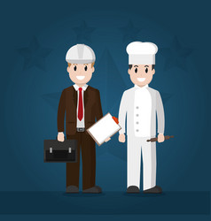 engineer and chef american workers vector image