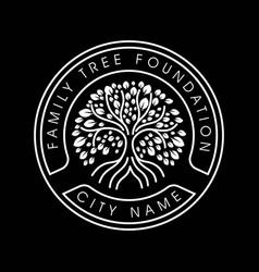 Family tree life stamp seal emblem oak banyan m vector