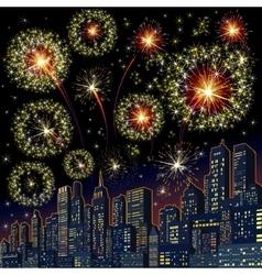Festive Firework Skyline Image vector