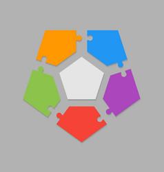 five pieces puzzle pentagon diagram info graphic vector image