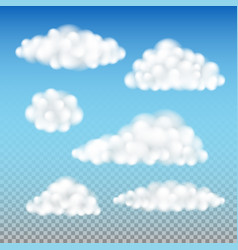 fluffy clouds isolated set vector image