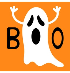 Funny flying ghost Boo text Happy Halloween vector