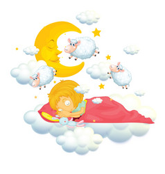Girl in bed dreaming and counting sheeps vector