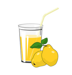 Glass with quince juice vector