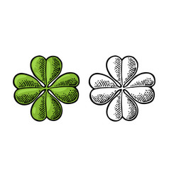 good luck four leaf clover vintage vector image
