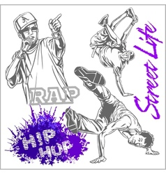 hip hop dancer on white background vector image