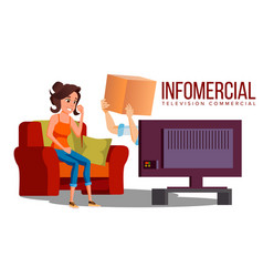 infomercial shop on sofa woman sitting on vector image