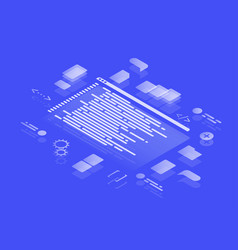 isometric concept coding neon vector image