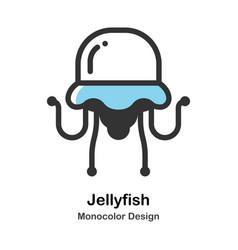 Jellyfish monocolor vector