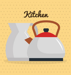kitchen teapots utensil icon vector image