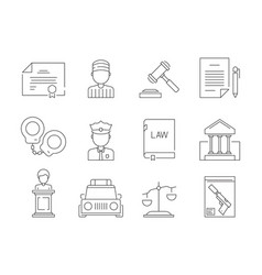Law thin icon legal lawyer criminal judgement vector