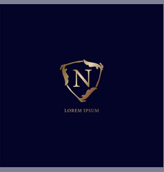 Letter n alphabetic logo design template isolated vector