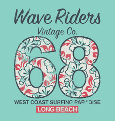 long beach surfing vintage company vector image