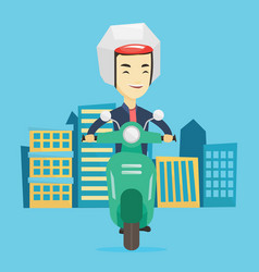 man riding scooter in the city vector image
