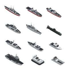 Military boats isometric icon set vector