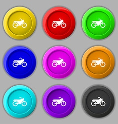 Motorbike icon sign symbol on nine round colourful vector