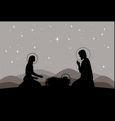 Nativity scene mary with jesus and joseph vector