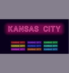 Neon name of kansas city vector
