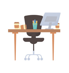 Office desk chair coffee cup and pencils isolated vector