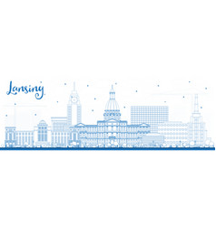Outline lansing michigan city skyline with blue vector