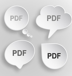 Pdf White flat buttons on gray background vector