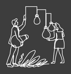 people holding lightbulbs symbols and work on vector image