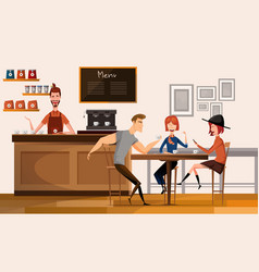 people in modern coffee shop or cafe in center vector image