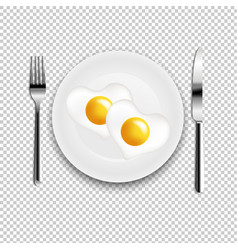Plate with fried egg heart fork and knife vector