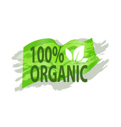Poster 100 percent organic food logo vector