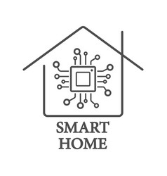 Processor styled smart home logo with chip vector