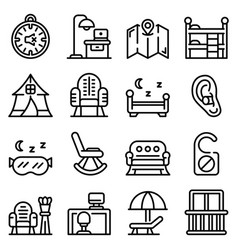 Quiet spaces icons set outline style vector