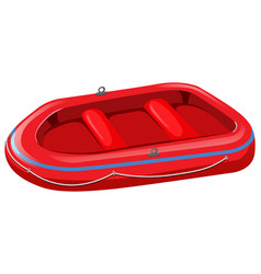 Red rubber boat on white background vector