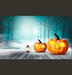 Scary halloween background with pumpkins vector