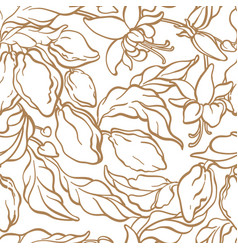 seamless pattern nature vintage wallpaper vector image